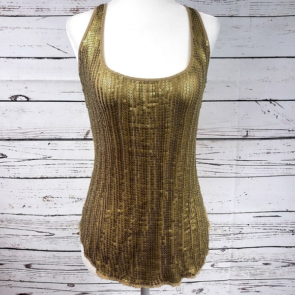Cache Tops - Gold Sequin Cache tank top XS